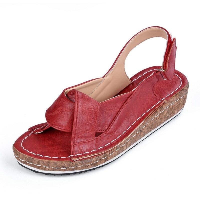 2021 Peep Toe Shoes Woman Sandals Retro Summer Wedge Sandals Female Casual Sewing Women Shoes Comfor