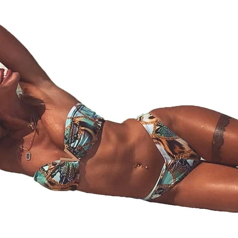 Bandeau Swimsuit Strapless Women Leopard Print Brazilian Bikini Push Up Swimwear 2020 Sexy Tanga Biquini