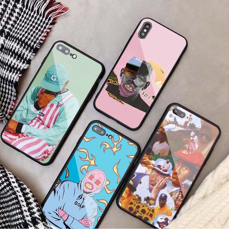 Tyler o criador pop rap cantor tyler criador capa de telefone de vidro temperado para iphone 5 5S se 6plus 7 mais 8 x xs xr xs max 11 para iphone 11 pro max