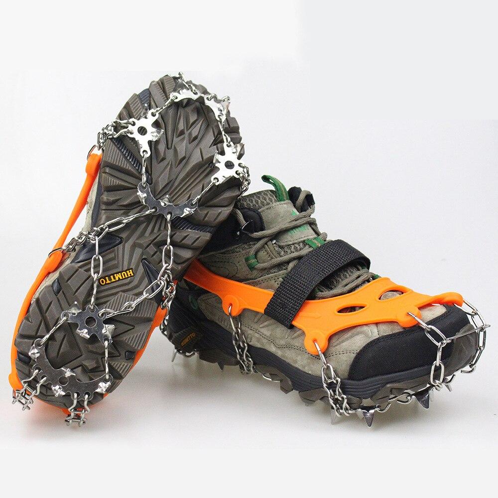 19 أسنان الجليد الأشرطة الشتاء حذاء الثلوج الأحذية الجليد القابض المضادة للانزلاق الجليد المسامير الثلوج زلق غطاء الحذاء سبايك المرابط
