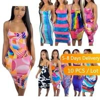 bulk items wholesale lots sexy bodycon summer dress tie dye spaghetti strap midi dress streetwear bandage party dress plus size