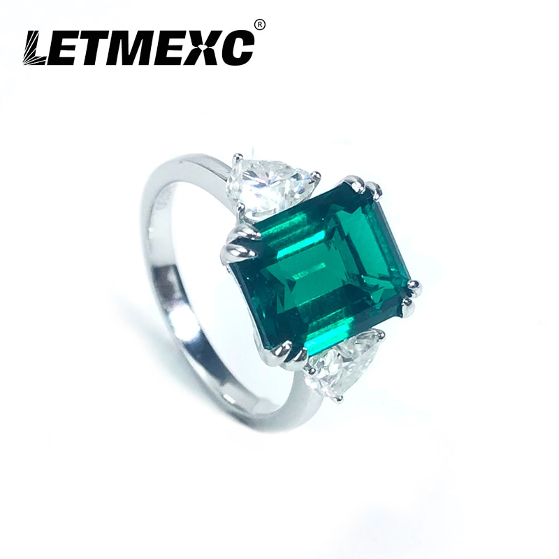 LETMEXC Colombian Emerald Ring Customized Main Stone 8x10mm Secondary Stone Heart Cut Moissanite 4.5mm With Certificate