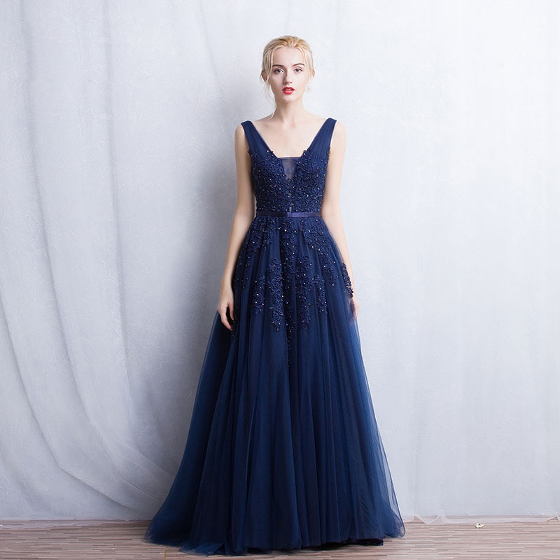 Elegante para mujer de vestido de dama Vestidos de dama de honor largo Sexy V cuello 2020 una línea Vestidos de tul para fiestas de boda-Vestidos
