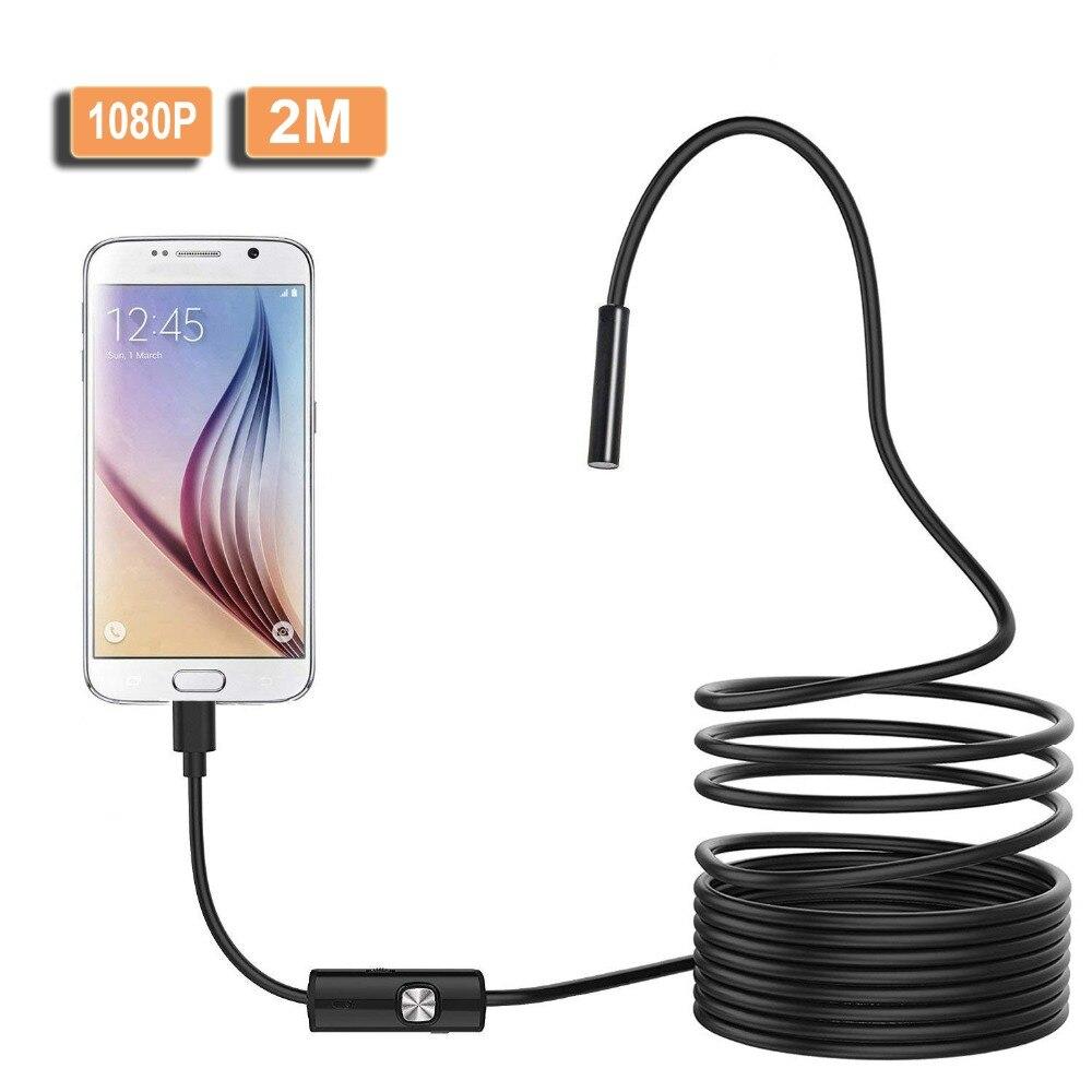Caméra endoscopique USB HD 1080P 8mm 2M Semi-rigide caméra endoscopique dinspection de serpent Flexible 8led pour PC Android