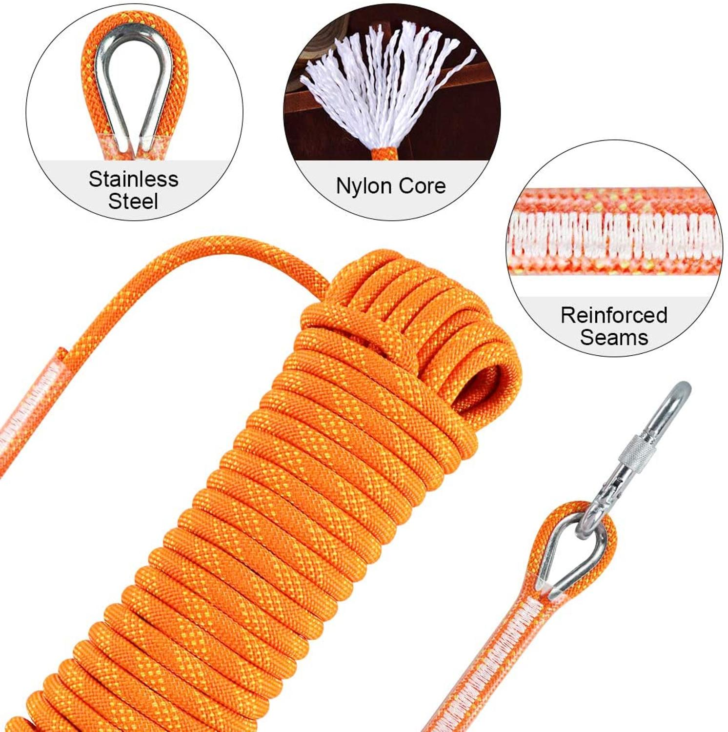 Outdoor Climbing Rope 10M High Strength Safety Rescue Rope Survival Tool With Hook