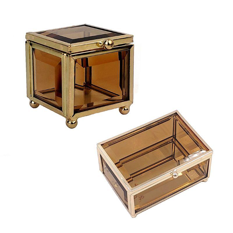 Geometrical Gold Glass Jewelry Box Jewelry Organize Holder Plants Container J78F