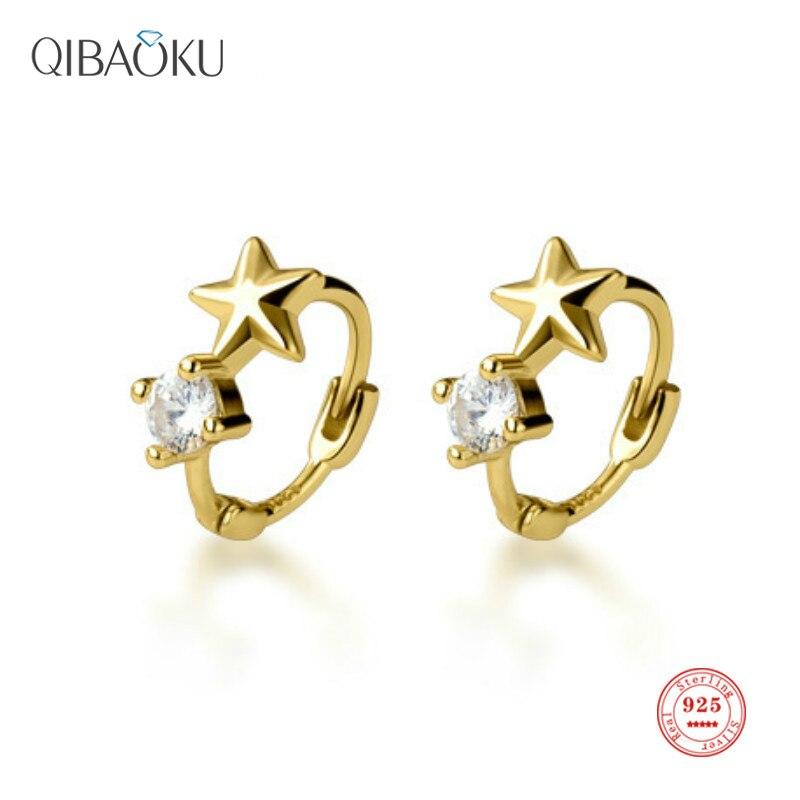 925 Sterling Silver Hoop Earrings Small Delicate Star Ear Buckle Female Sweet Simple Circle Earring for Women Fine Jewelry