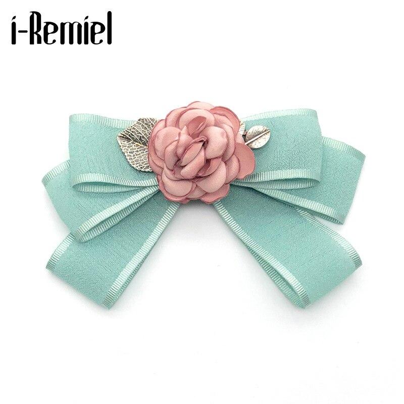 i-Remiel Korean Fashion Fabric Rose Flower Bow Tie Brooch Bowtie Lapel Pins Badge Fashion Shirt Collar Pin Clothing Accessories