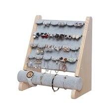 Jóias de madeira expositor pulseira brinco titular t-bar display pulseiras tornozeleiras jóias expositor