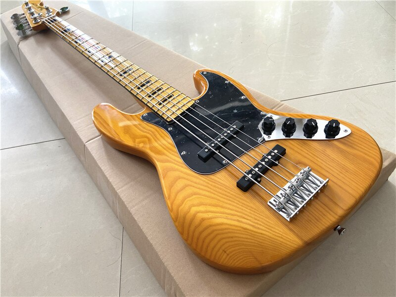 High quality inheritance classic transparent yellow 5 string electric bass white wax xylophone body maple xylophone neck