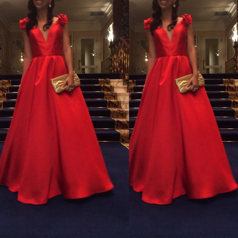 Sexy A-line 2018 rojo De lujo De manga corta largo De noche novias elegante banquete baile De graduación Robe De Soiree Madre De los vestidos De la novia