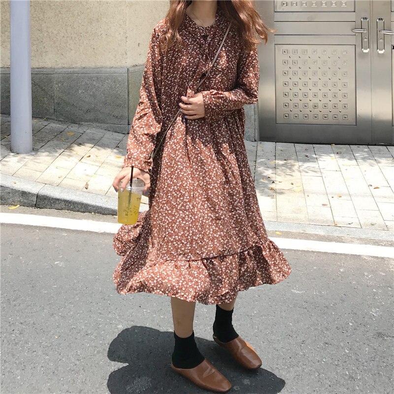 HziriP Korean New Autumn 2019 Chiffon Elegant Women Cute Print Floral Sweet Ruffles Fresh Fashion Women High Waist Long Dresses
