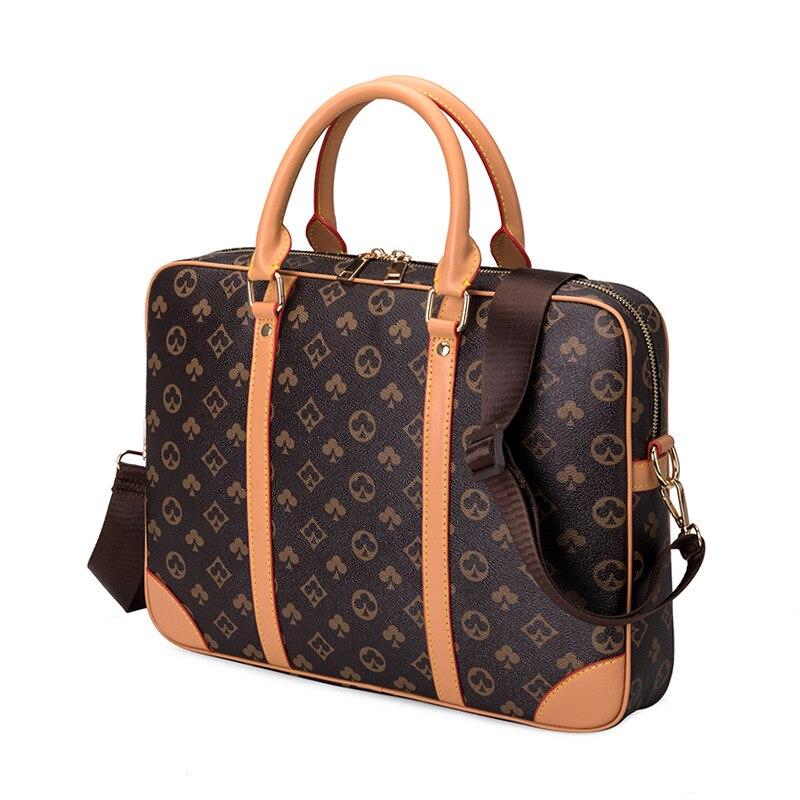 Printed Leather Business Briefcase Men/Women Messenger Bag 15 inches Laptop Shoulder Bag Fashion Cro