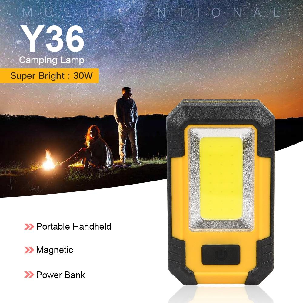 Luz Led de Trabajo Portátil Super brillante 30W luz LED de emergencia recargable al aire libre impermeable COB lámpara de Camping