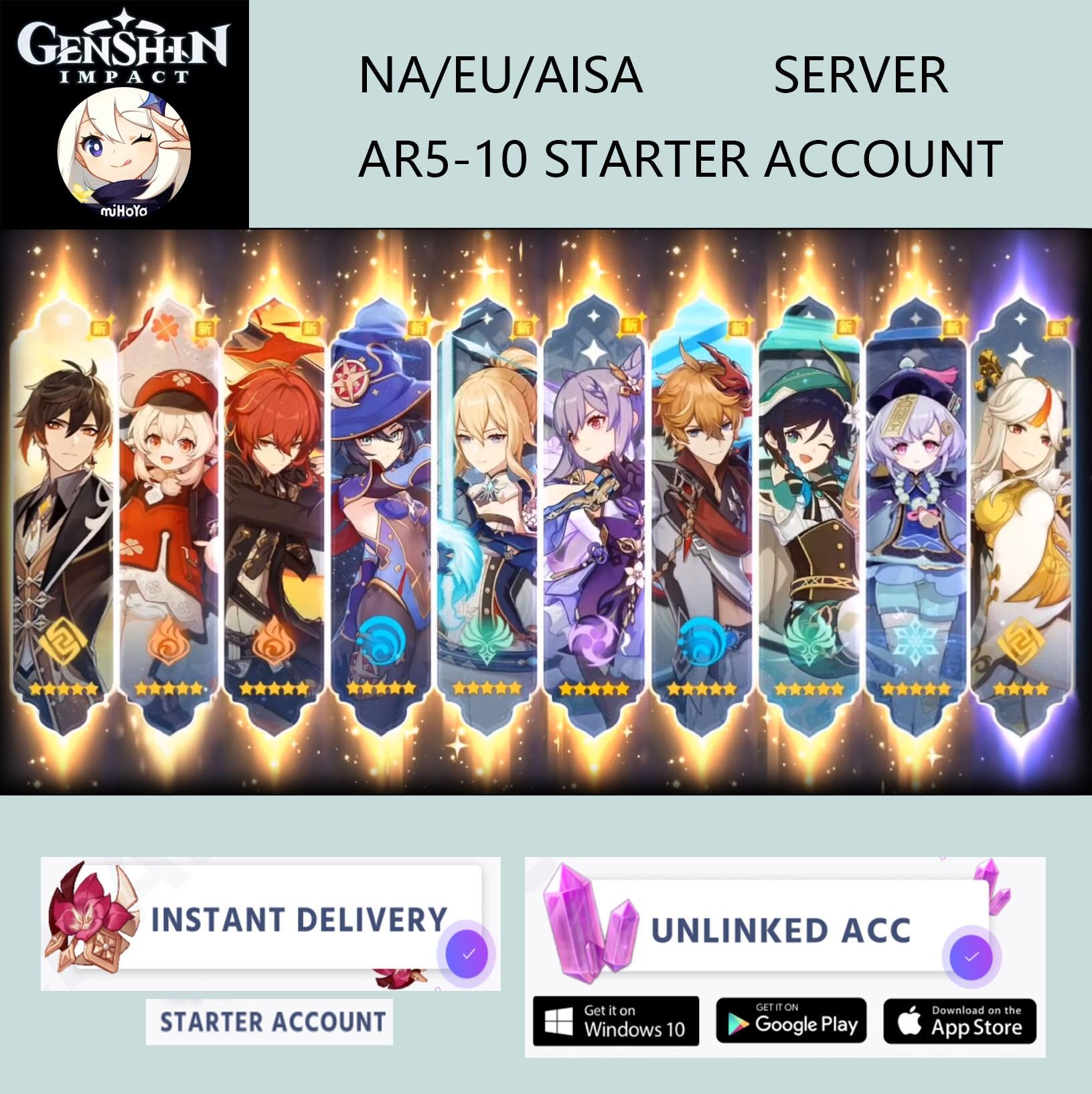 Hutao Genshin Impact Starter Account Venti Klee Tartaglia Childe Zhongli Albedo Ganyu Xiao Diluc AR5-10 Asia/America/Europe