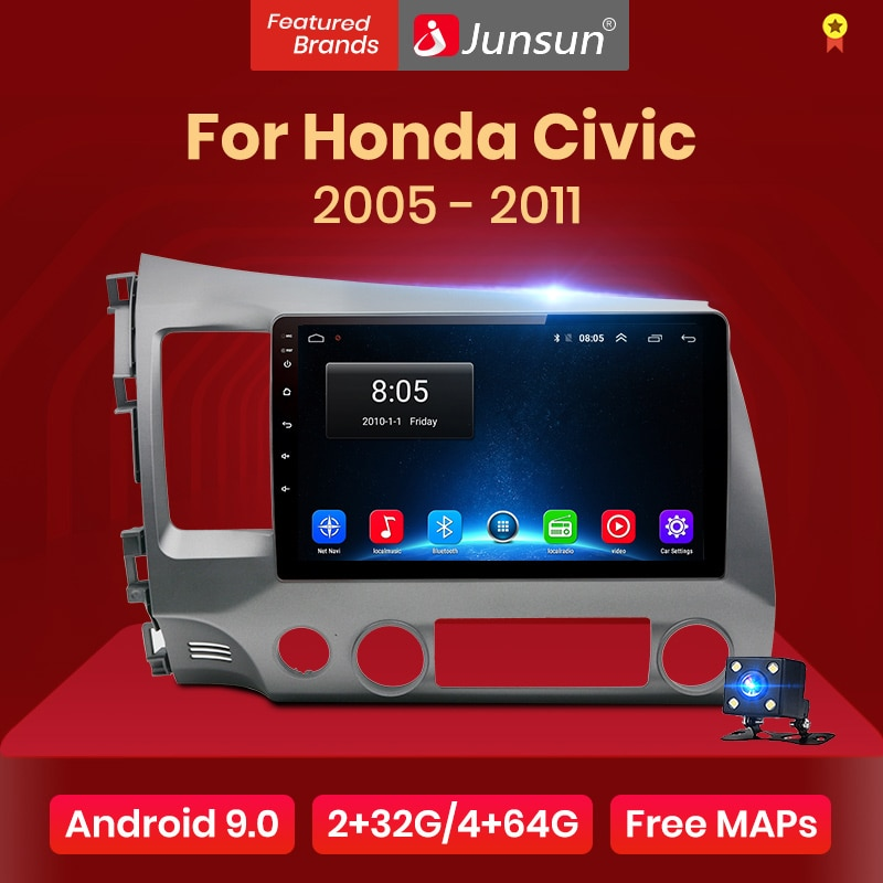 Junsun V1 2G + 32G Android 9,0 DSP auto Radio Multimedia reproductor de vídeo para Honda Civic 8 2005-2011 GPS de navegación No 2din 2 din dvd