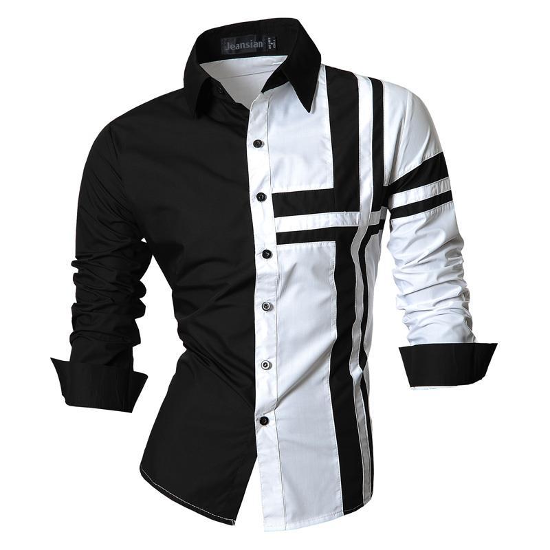 Camisas de vestir para hombre de estilo informal de manga larga de diseñador de botón de abajo Slim Fit Z014 blanco