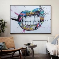 graffiti art teeth sexy lips canvas paintings posters and prints wall art picture cuadros home decoration room decor