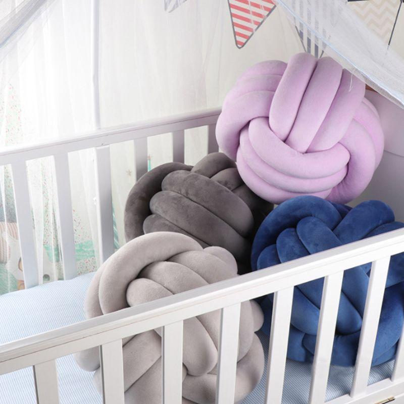 Мягкие шариковые подушки с узлом, Мягкая Подушка для домашнего декора, подушечка в форме шарика, плюшевая подушка D08F