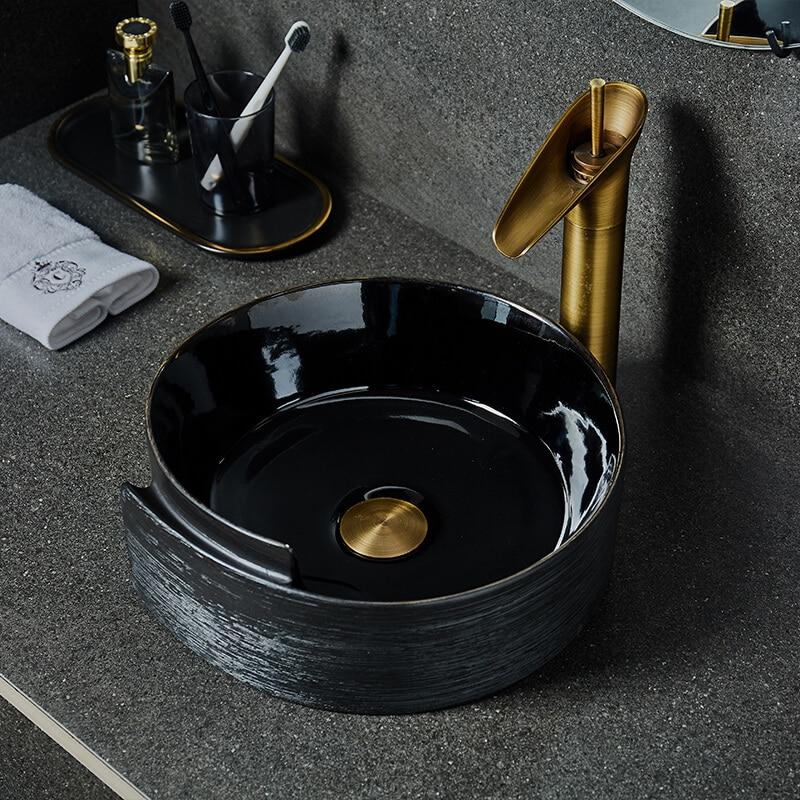 Arte Retro sobre lavabo de encimera de cerámica redondo de lavabo individual...