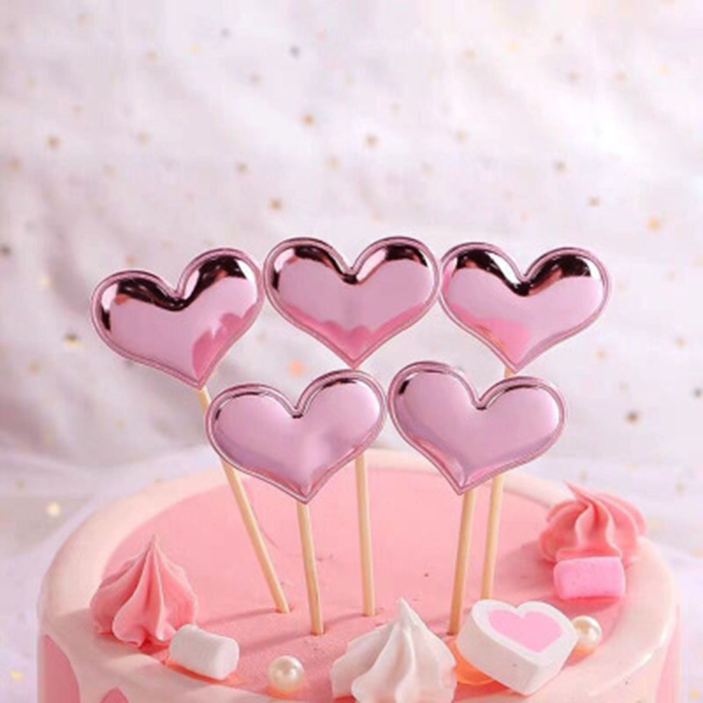 5 pièces réfléchissant paillettes amour pentagramme décoration de gâteau Plugin fête Dessert cuisson Dressing fête de mariage fournitures gâteaux décor