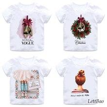 Милая футболка принцессы, рождественские корейские футболки для маленьких девочек от 2 до 12 лет, летние хлопковые детские футболки Wihte для д...