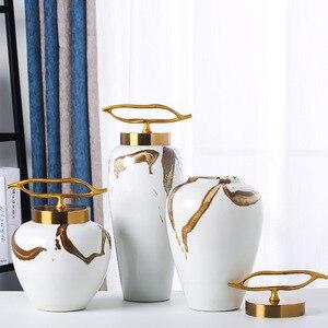 Creative Ceramic Storage Jar Decoration Metal Lid Creative Flower Vase Arrangement Decoration Living Room