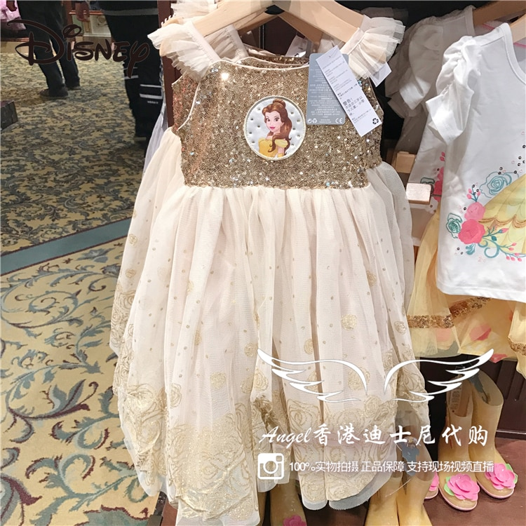 Disney Park Beauty and Beast Princess Bell Children's Dress Cute Cartoon Dress skirts womens Cartoon Ball Gown Knee-Length