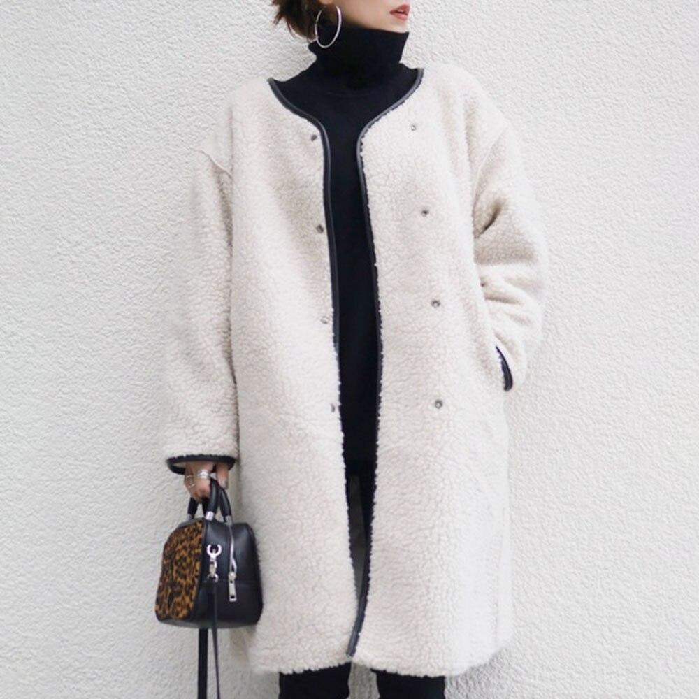 ¡Invierno 2020! Abrigo de felpa para mujer, chaqueta de oso de peluche, chaqueta gruesa de lana cálida, abrigo envolvente de talla grande coreano Blanco sólido minimalista