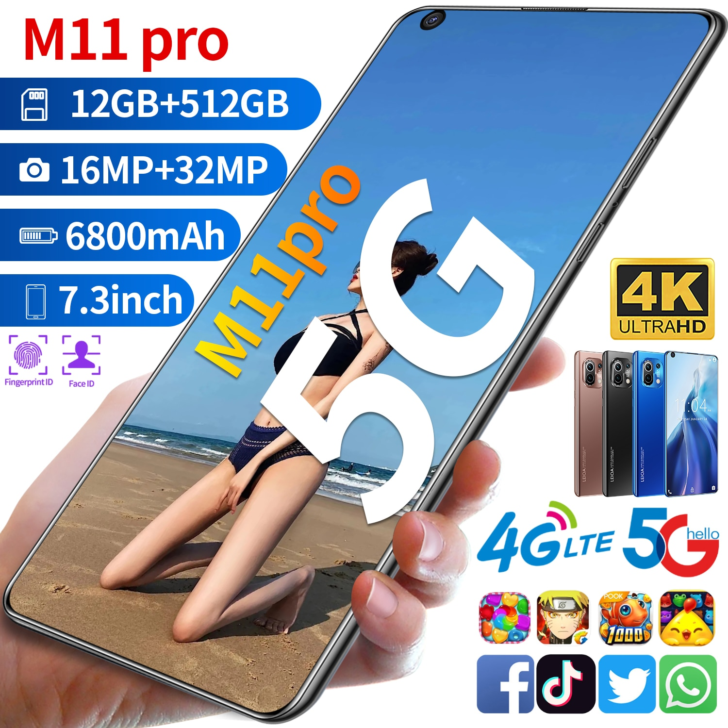 Newest  Xiao M11 Pro 6800mAh 7.3inch  Mobile Phone  Hot Selling  12GB 512GB 10 Core Newest Cellphone