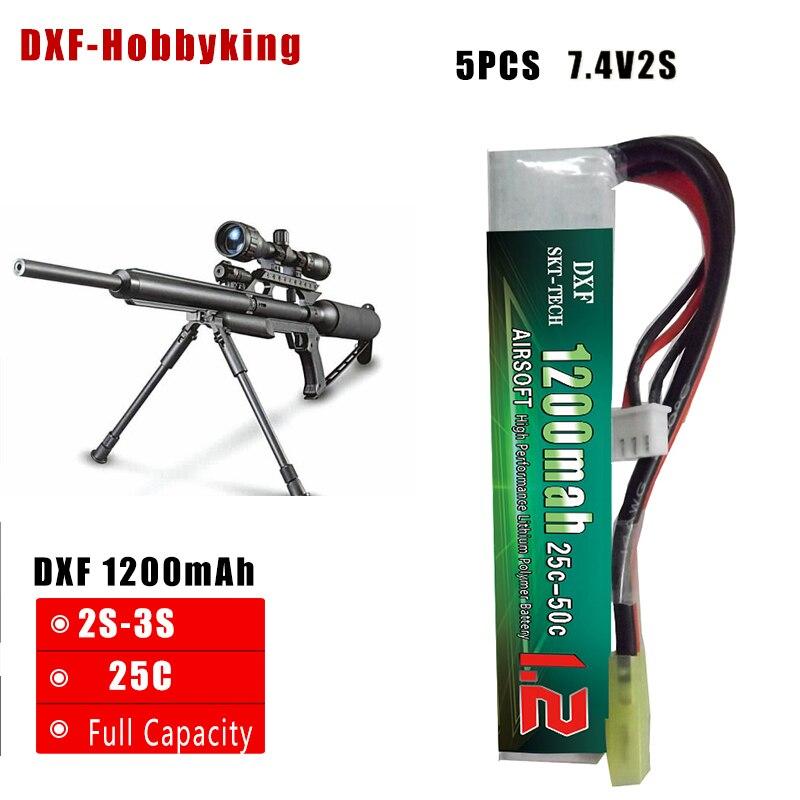 2017 DXF de buena calidad 5 uds AKKU Mini batería para pistola de airsoft 2S 7,4 mah 1200 V 25C Max50C RC modelo conector Tamiya