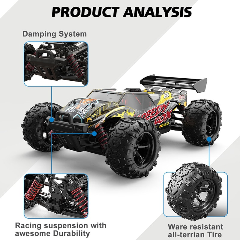 RC Car 50km/h Bigfoot Truck High Speed 4WD Monster Drift Radio Vehicles Remote Control Fast Off-road Children Toys Crawler Boys enlarge