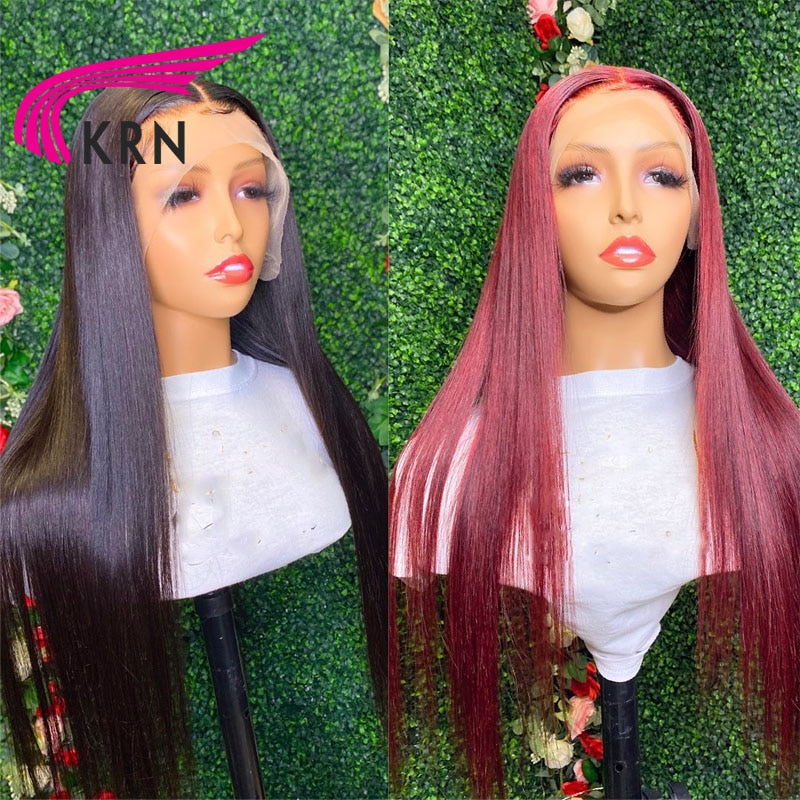 KRN 13X4 Lace Front Wig 99J Red Burgundy 180% Remy Brazilian Human Hair Wigs For Women 4x4 Lace Closure Wig Preplucked