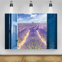 laeacco blue window lavender field scenery potography backgrounds seamless photophone photographic backdrops for photo studio