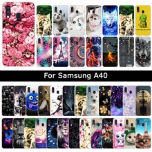 Coque de luxe en Silicone souple pour Samsung Galaxy A40 A 40 à motifs floraux animaux chat à motifs Coque de protection pour téléphone