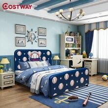 COSTWAY Kinder Kinder Polster Plattform Ball Muster Bett Ultra-weichen Samt Material Kleine Bett Nicht-slip Design Kinder bett