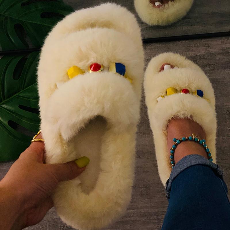 Sandalias de piel sintética para Mujer, Zapatos de interior, chanclas esponjosas, informales,...