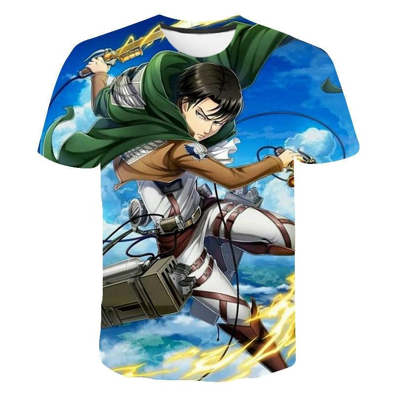 Japanese Anime Attack on Titan T Shirt Men Levi Eren Harajuku Funny Cartoon T-shirt Manga Shingeki No Kyojin Tshirt Top Tee Male