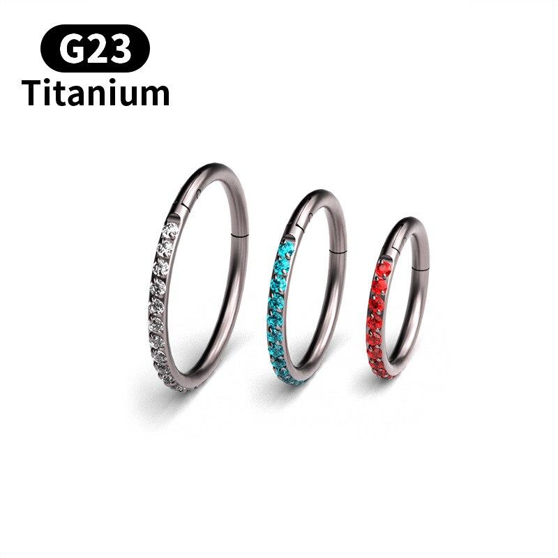 50 قطعة/الحقيبة G23 التيتانيوم 16G الزركون الحاجز الفرس ثقب Daith الأنف خاتم الجسم شماعات كليب على الأزياء والمجوهرات