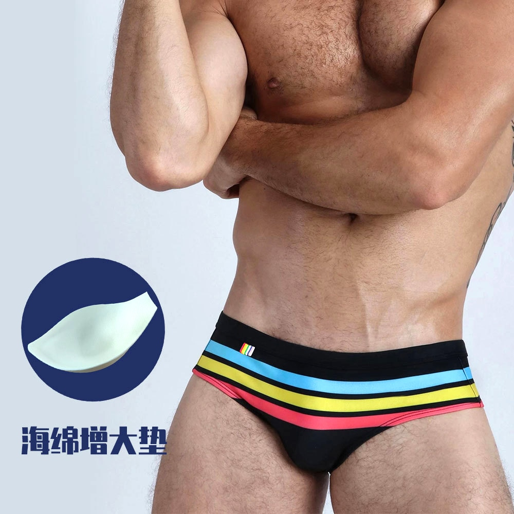 2021 New Men Swimming Trunks Summer Color Matching Striped Swimsuit European And American Fashion Push Pad Beach Sports Bikini