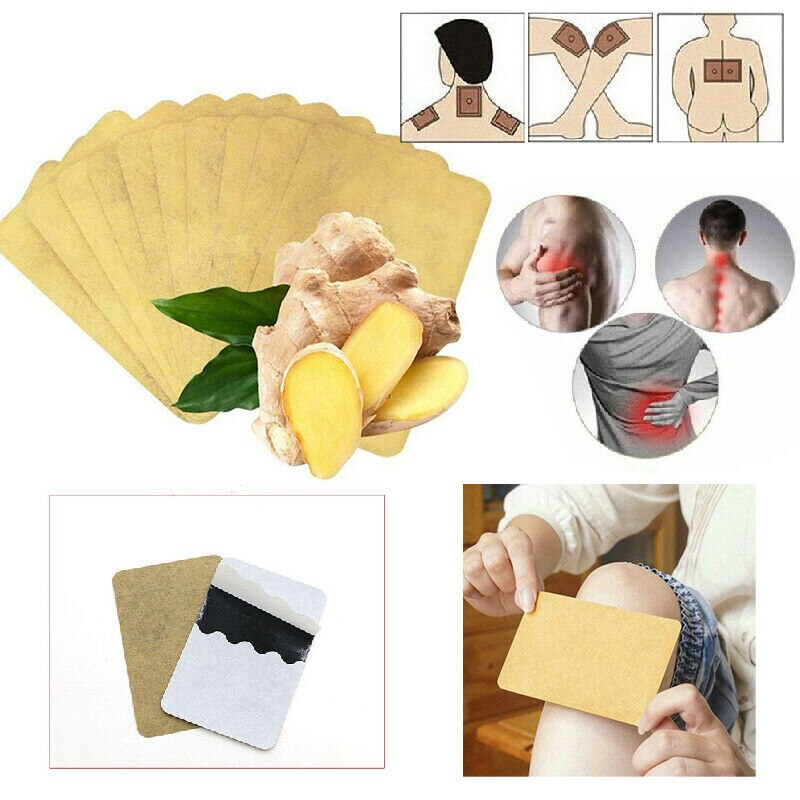 10PCS Ginger Detox Patches Body Neck Knee Pad Herbal Pain Relief Health Care Body Detox Foot Patch G