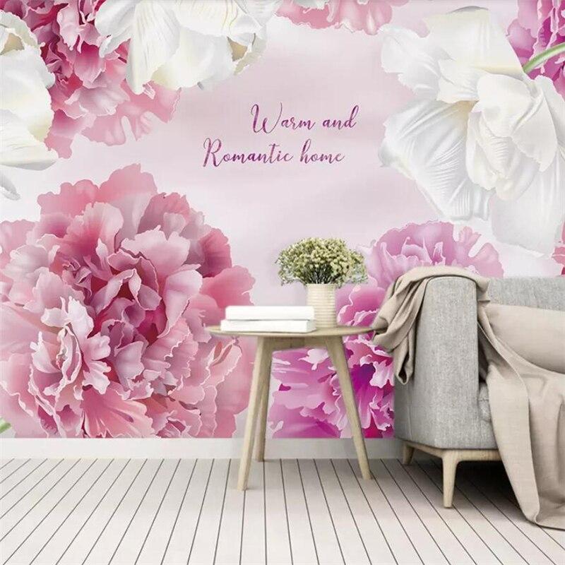 Papel tapiz personalizado rosa púrpura moderno minimalista gradiente floral Fondo weddingroom pared personalizada gran mural papel pintado verde