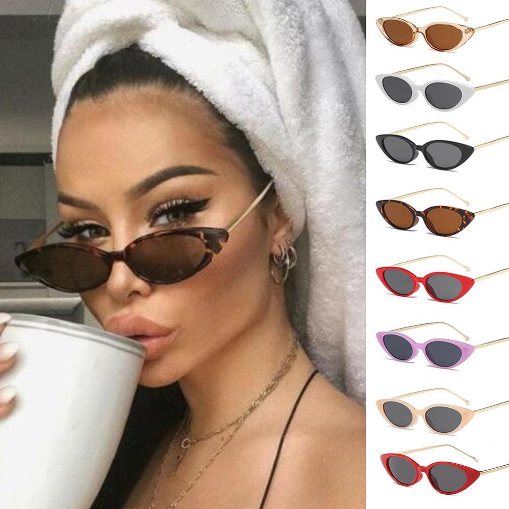 Высококачественные Женские Модные Узкие солнцезащитные очки кошачий глаз UV400 Модные Узкие солнцезащитные очки для женщин модные товары