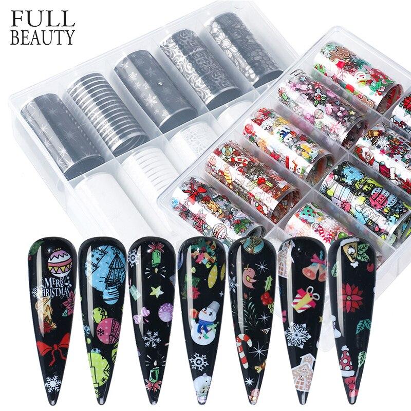 10pcs Férias Transferência Autocolante Prego Foils Set Flocos de neve de Natal Elk Papai Estrelado Papel Claro Manicure Nail Art Wraps CH1037-1
