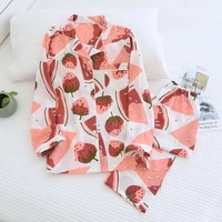 springautumn new womens pajamas set cotton silk summer thin long sleeve sleepwear for ladies loose soft comfort home clothing