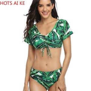 Women's Fashion Sexy Sexy Floral Printed Ruffle Bandage Split Swimsuit Bikini High Waist Ruched Swimwear Clothhing