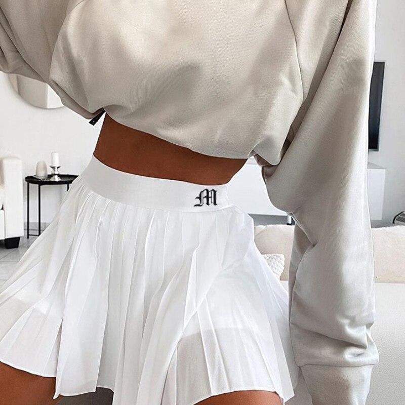 White Pleated Skirt Short Woman Elastic Waist Mini Skirts Sexy Mircro Summer Embroidery Tennis New Preppy
