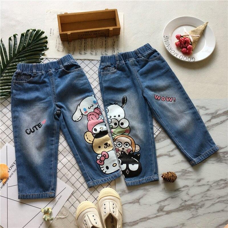 Tonytaobaby outono e inverno roupas novo estilo do bebê dos desenhos animados impresso calças de brim calças meninos calças da criança