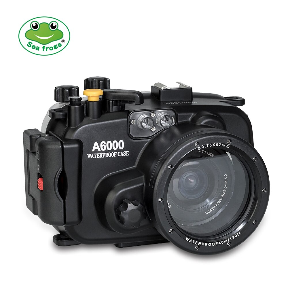 130ft/40 متر صندوق مقاوم للماء تحت الماء الإسكان كاميرا الغوص الحال بالنسبة لسوني A6000 ILCE-6000 16-50 مللي متر عدسة حقيبة كاميرا الغلاف