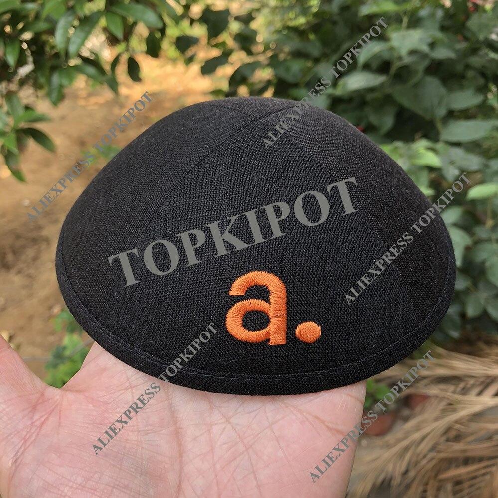 Черный льняной киппас с оранжевой вышивкой